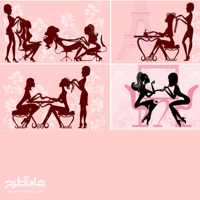 دانلود طرح وکتور سالن زیبایی زنانه, دانلود وکتور سالن زیبایی زنانه, طرح سالن زیبایی زنانه, دانلود طرح دختر در حال لاک زدن