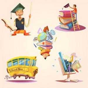 وکتور مدرسه, دانلود وکتور school, وکتور اتوبوس مدرسه, وکتور کتاب درس